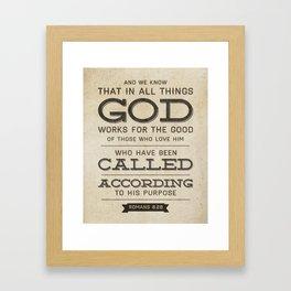 Romans 8:28 Bible Verse Framed Art Print