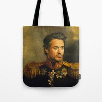 robert farkas Tote Bags featuring Robert Downey Jr. - replaceface by replaceface