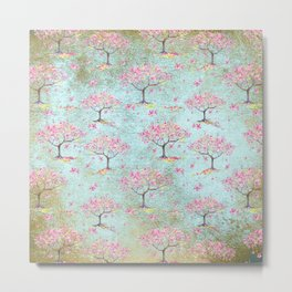 Spring Flowers - Cherry Blossom  Tree Pattern Metal Print