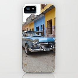 Baby Blue Vintage Classic Car Cuba Trinidad Stucco Cityscape Travel Latin America Tropical iPhone Case