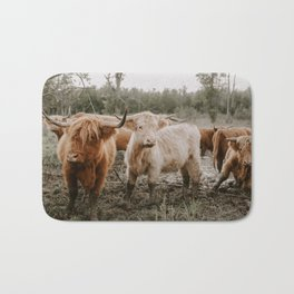 Curious Highland Cows Bath Mat