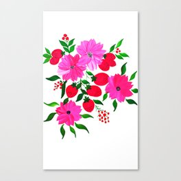 Pink Flowers With strawberries Canvas Print