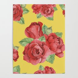 Colorful Vintage Watercolor Red Rose Poster
