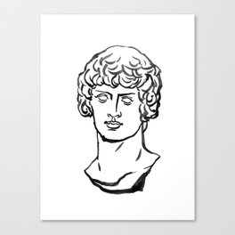 Dionysos,marble, Greek and Roman sculpture painting, watercolor painting Canvas Print