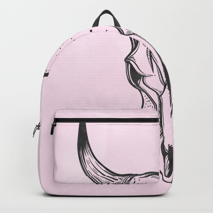 Southwest Skull Black on Pink Backpack