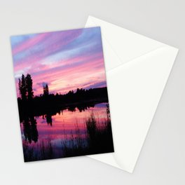 Pink Sunset Mirror Lake Stationery Cards