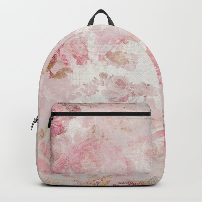 Vintage Floral Rose Roses painterly pattern in pink on #Society6 Backpack