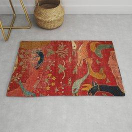 Animal Grotesques Mughal Carpet Fragment Digital Painting Rug