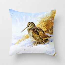 Archibald Thorburn - Winter Woodcock - Digital Remastered Edition Throw Pillow