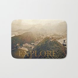 explore. golden Bath Mat