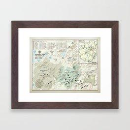 Adirondack 46er [vintage inspired] High Peaks area map Framed Art Print