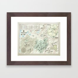 Adirondack 46er [vintage inspired] High Peaks area map Framed Art Print