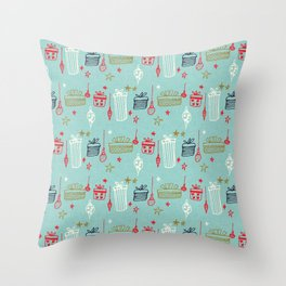Christmas gift and ornaments Blue and Green Throw Pillow