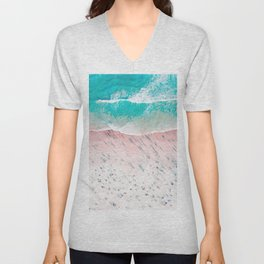 Beach Wall Art, Aerial View of Beach, Teal Ocean Print Unisex V-Neck