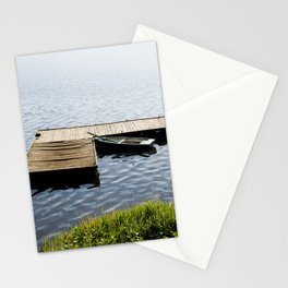 boat moored to old wood boardwalk Stationery Cards