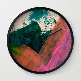 Expand [3]: a colorful, minimal abstract piece in pinks, green, and blue Wall Clock