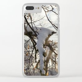 trees under snow Clear iPhone Case