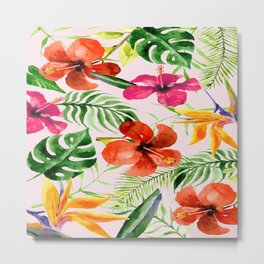 Tropical flowers and leaves on Pink background Metal Print