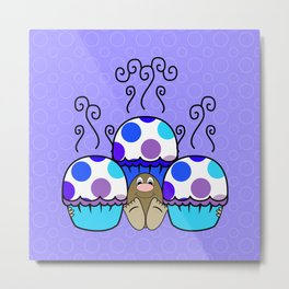 Cute Monster With Blue And Purple Polkadot Cupcakes Metal Print