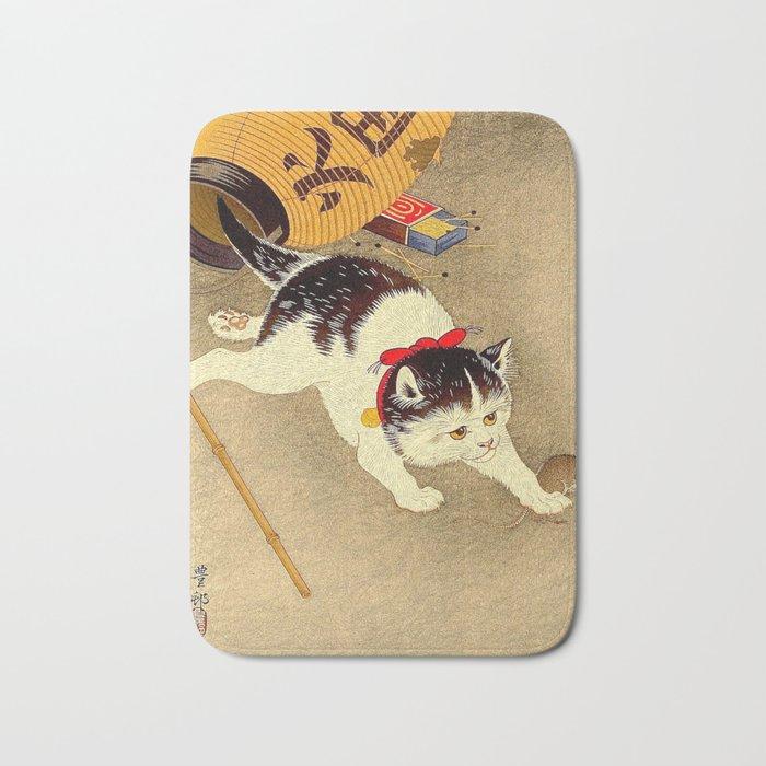 Japanese Woodblock Print Cat Lantern Playful Vintage Art Bath Mat