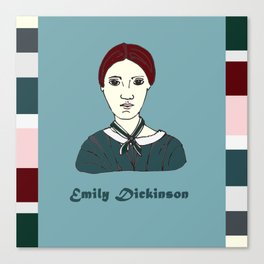 Emily Dickinson, hand-drawn portrait Canvas Print