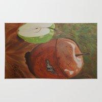 tim burton Area & Throw Rugs featuring Secret Apple by Rosemary Burton by DrBurton
