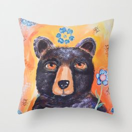 Bearly Springtime Throw Pillow