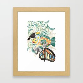 Plant fish and Butterfly cat and Toco toucan (remake) Framed Art Print