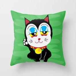 420 Maneki Neko  Throw Pillow