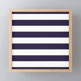 Dark eclipse Blue and White Wide Horizontal Cabana Tent Stripe Framed Mini Art Print