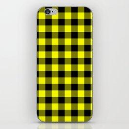Bright Yellow and Black Lumberjack Buffalo Plaid Fabric iPhone Skin