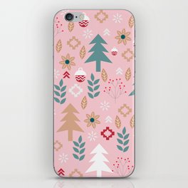 Cute Christmas in pink iPhone Skin