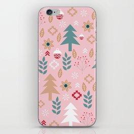 Cute Christmas in pink iPhone Skin
