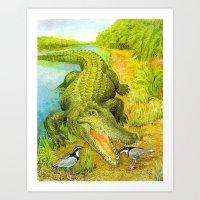 crocodile Art Prints featuring Crocodile by Natalie Berman