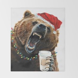 Grizzly Mornings Christmas Throw Blanket