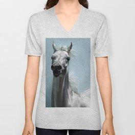 Arabian White Horse Painting Unisex V-Neck