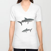 sharks V-neck T-shirts featuring Sharks by Bwiselizzy