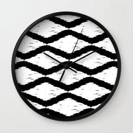 Black and White Tribal Ikat Pattern Wall Clock