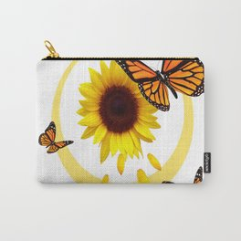 ORANGE MONARCH BUTTERFLIES & SUNFLOWER  PATTERN Carry-All Pouch