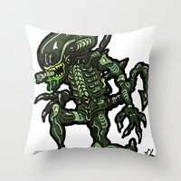 xenomorph Throw Pillows featuring Xenophobe?  Well, yeah...  This Alien spits acid! The Aliens Xenomorph Alien! by beetoons