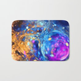 yellow and blue bubbles abstract Bath Mat