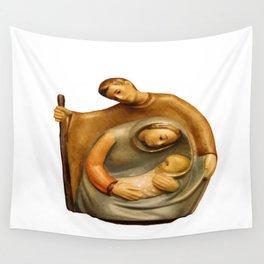 Nativity Scene Mary Joseph and Jesus Wall Tapestry