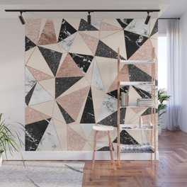 Modern black white marble rose gold glitter foil geometric abstract triangles pattern Wall Mural
