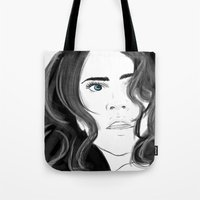 coyote Tote Bags featuring Coyote by Nikki Homicide