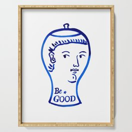 Be good ceramic vase, blue and white printable wall art, minimalist wall art print, instant download Serving Tray