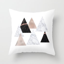 Marble rose gold geometric triangles Throw Pillow
