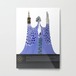 "Art Deco Design ""Pacific Ocean"" by Erté Metal Print"
