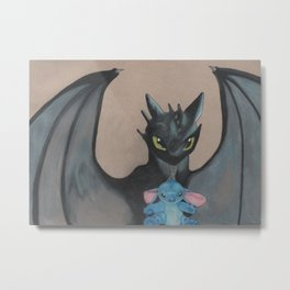 Toothless/stitch plush Metal Print