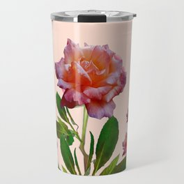 PINK ROSES CORAL BOTANICAL VINTAGE ART Travel Mug