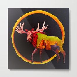 moose at solar eclipse Metal Print
